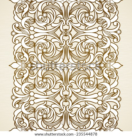 Vector seamless border in Victorian style. Vintage element for design. Ornamental floral pattern for wedding invitations and greeting cards. Traditional brown decor on light background.