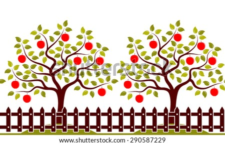 Vector Seamless Border With Apple Trees Behind Picket Fence
