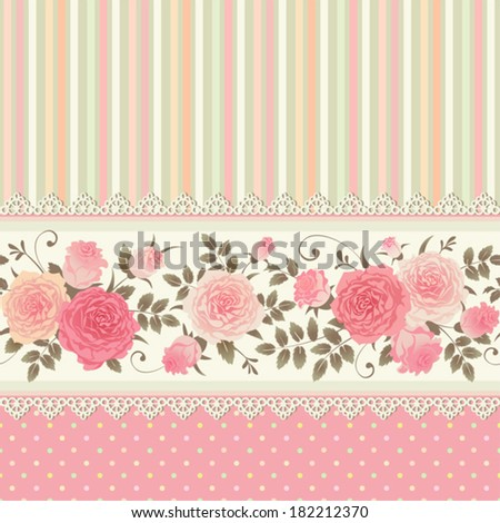 Vector seamless border with climbing roses. Floral striped polka dot background. Vintage ornamental card. - stock vector