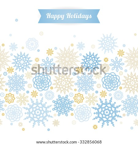 Vector seamless border with snowflakes. Light blue ornate element for New Year's and Merry Christmas design. Vintage ornamental lace background. Elegant winter lacy decor. - stock vector
