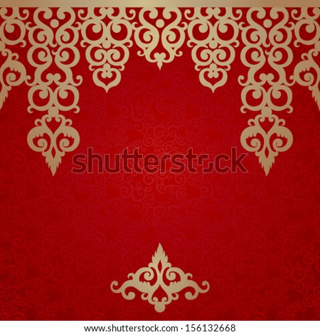 Vector seamless border with swirls and floral motifs in retro style. Golden scrollwork background. Template frame design for card. You can place your text in the empty place. - stock vector
