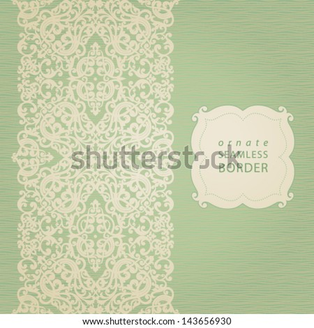 Vector seamless border with swirls and floral motifs in retro style. It can be used for decorating of invitations, cards and decoration for bags.
