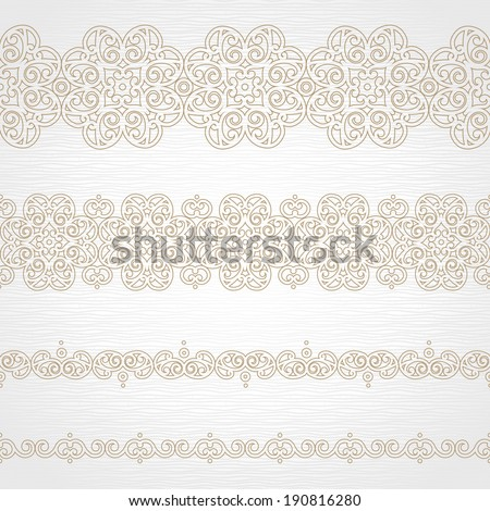 Vector seamless borders in east style. Element for design and ornamental decor. Light lacy background. Ornate floral decor and pattern for wedding invitations and greeting cards. - stock vector