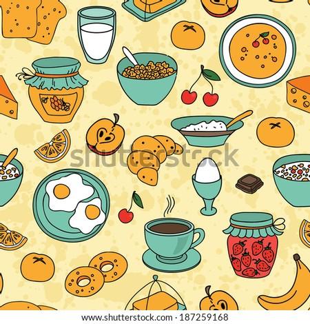 Vector seamless breakfast pattern - stock vector
