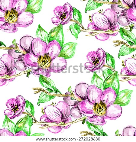 Vector seamless bright cherry blossom pattern, floral sakura spring branch ornament, fashion print for fabric, small pink watercolor pencil drawing flowers - stock vector