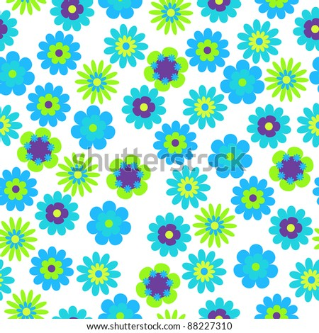 vector seamless bright floral background - stock vector