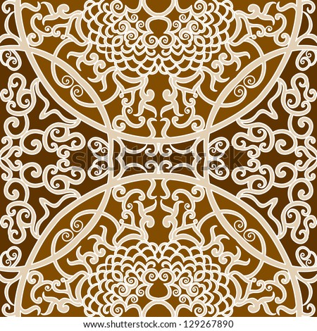 vector seamless brown traditional floral pattern background - stock vector