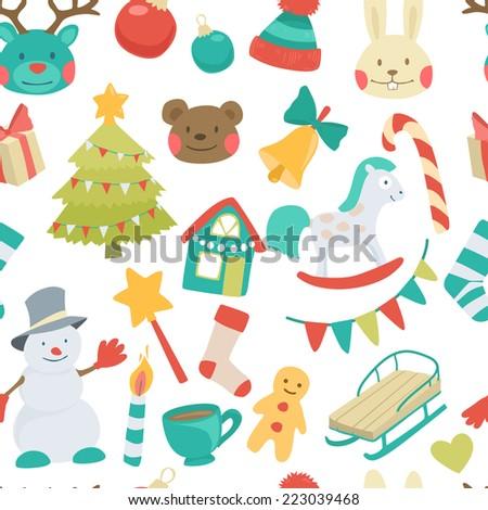 Vector seamless cartoon christmas pattern - stock vector