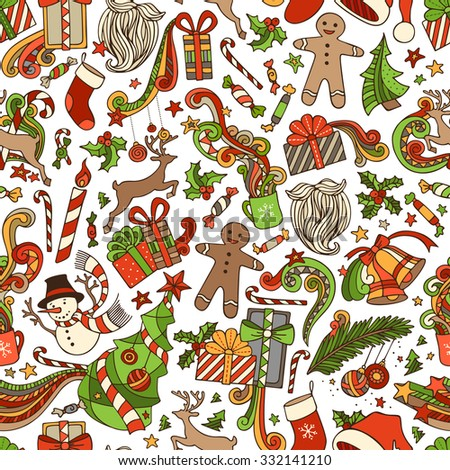 Vector Seamless Cartoon Christmas Pattern. Christmas tree and baubles, gifts, candy canes, snowman, gingerbread man, bells and ribbons, sweets, Santa sock, hat, beard, holly berries. - stock vector
