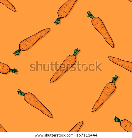 vector seamless cartoon pattern of carrots on orange background - stock vector