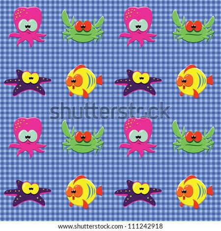 Vector seamless checked blue pattern with funny cartoon fishes, octopuses, crabs and starfishes. - stock vector