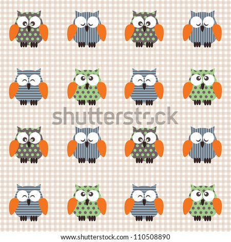 Vector seamless checked light-brown and white pattern with little cute owls. - stock vector