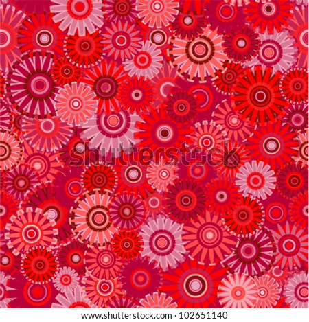 Vector seamless - chinese flower pattern (red firework background)