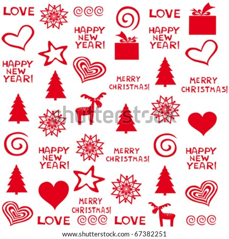 vector seamless christmas background - stock vector