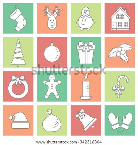 vector seamless Christmas, New Year line  icons set