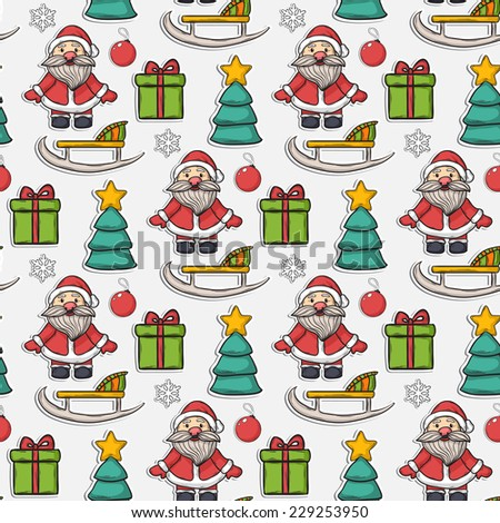 Vector seamless Christmas pattern,sticker, with Santa Claus,gifts,sleigh, Christmas ball, snowflakes, Christmas trees on a white background - stock vector