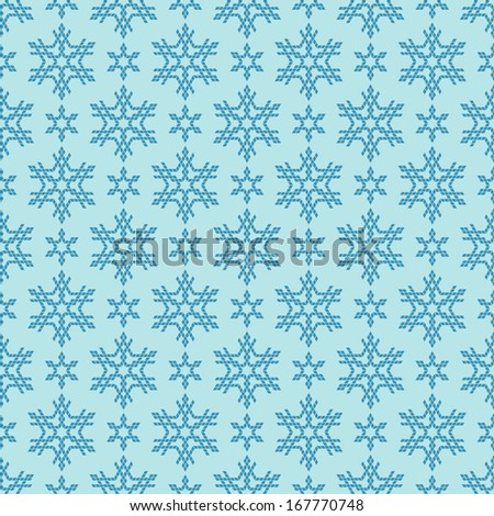 Vector seamless christmas pattern with blue snowflakes. Cute festive geometric background. Abstract winter simple illustration. Ornamental decorative original modern texture for print, web - stock vector