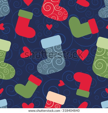 vector seamless christmas pattern with santa socks. EPS - stock vector