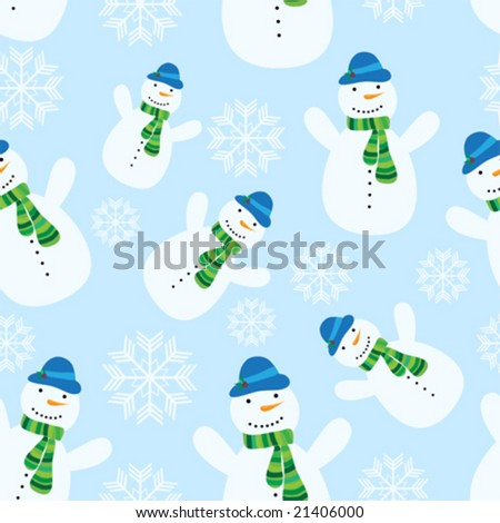 vector seamless christmas pattern with snowman - stock vector