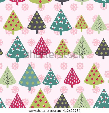 Vector seamless Christmas pattern -  Xmas trees and snowflakes. Happy New Year background with firs. Vector design for winter holidays  - stock vector