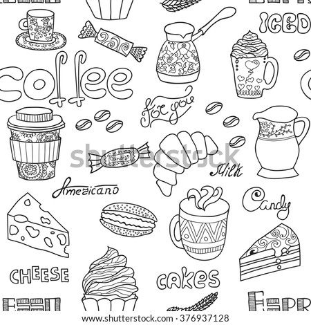 Vector seamless coffee pattern. Vector coffee icons. Cute coffee icons. Food and drink elements. Joy to adult colorists, who like art, relax and meditation.