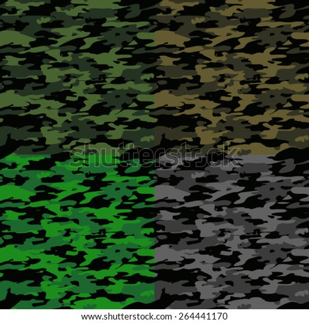 Vector Seamless 4 Color Theme Camouflage Background Pattern - stock vector