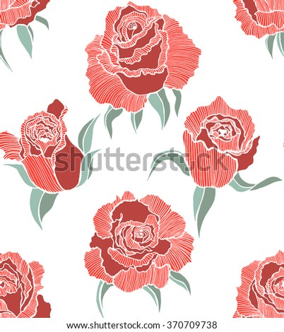 vector seamless colored hand-drawn  background with red roses