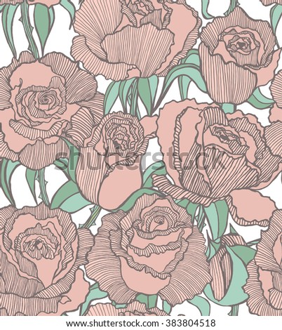 vector seamless colored hand-drawn background with tender pink roses