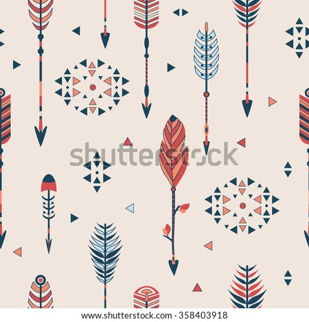 Vector seamless colorful ethnic pattern  in native american style.Tribal arrows on white background. - stock vector