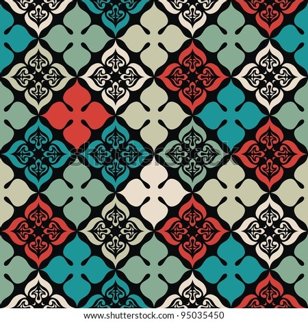 Vector seamless colorful pattern on black background. Vector illustration. - stock vector
