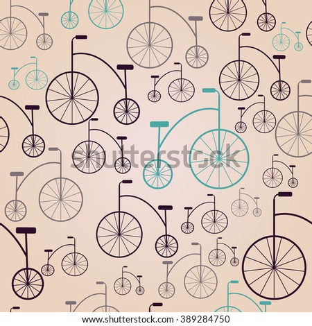 Vector seamless colorful retro vintage bicycle hipster background. - stock vector