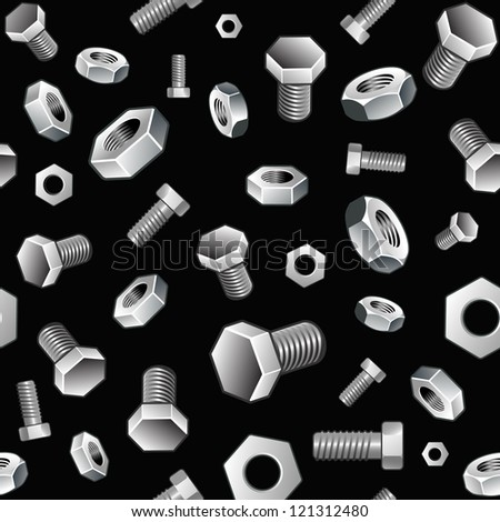 Vector seamless construction background with nuts and bolts on black - stock vector