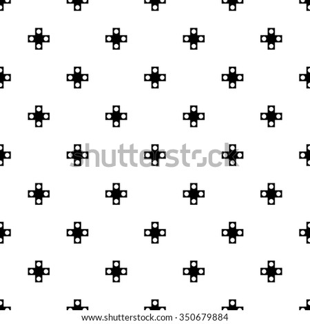 vector seamless cross pattern. endless texture black and white. abstract geometric ornament background. - stock vector