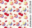 vector seamless cupcakes pattern texture with cherries - stock vector