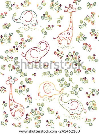 Vector seamless cute animals  pattern, elephants, giraffes and flora. - stock vector