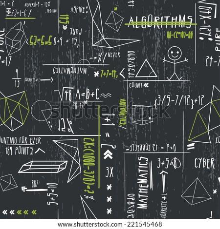 vector seamless cute cartoon hand writing mathematics print - stock vector