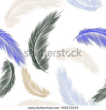 Vector seamless cute feather boho pattern