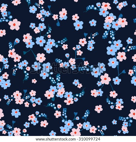 Vector seamless cute graphical minimalistic flower pattern. Gentle, bright, romantic print.Spring, summer time. Nature in bloom.  - stock vector