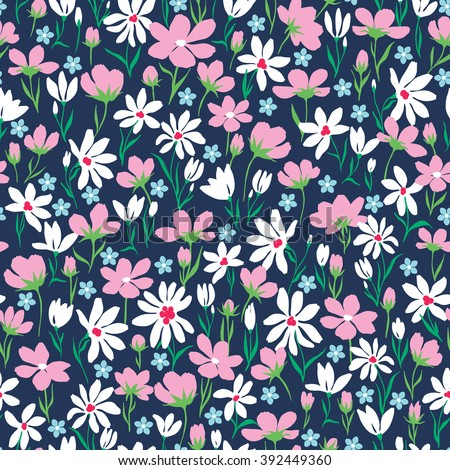 vector seamless cute hand drawn ditsy flower pattern, spring summer time, vibrant gentle floral  allover print on dark blue background - stock vector