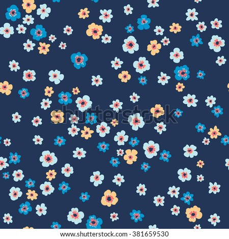 vector seamless cute little gentle ditsy flower pattern. spring summer mood, beautiful garden floral background print, colorful, bright, romantic naive flora design - stock vector