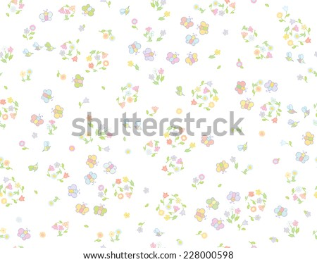 Vector seamless cute pattern flowers and insects. - stock vector