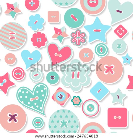 Vector seamless 3d pattern, cute background. Draw, Doodle. Colorful creative pattern of colored buttons. Illustration can be used for wrappers, websites, banners, fabrics, posters, surface texture. - stock vector