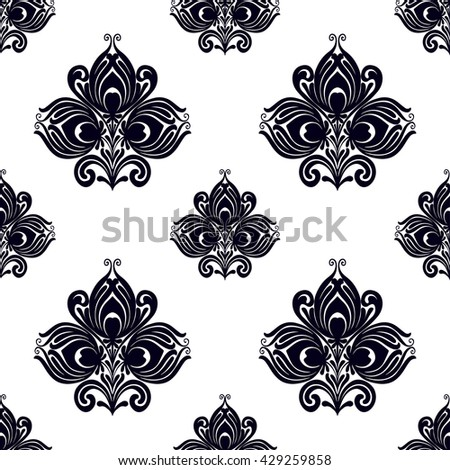 Vector Seamless damask black and white pattern. Abstract wallpaper with oriental ornamental flower elements. Floral background with ethnic flowers in vector. Folk art Elegant design for any surface - stock vector