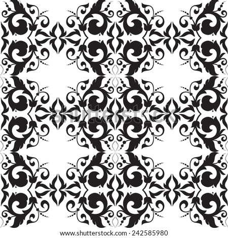 Vector. Seamless damask pattern. Fabric swatch. Black and white. - stock vector