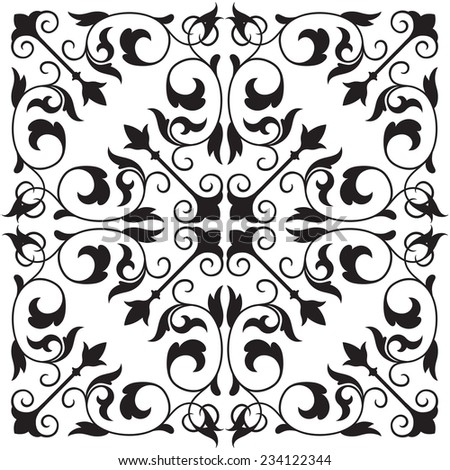 Vector seamless damask pattern fabric swatch black floral vector