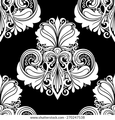 Vector Seamless Damask Pattern. Hand Drawn Vintage Texture - stock vector