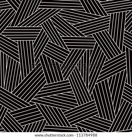 Vector seamless dark pattern with interweaving of thin light lines. Simple ornamental black and white illustration with stylized covering. Traditional hatching architectural hand drawn graphic. - stock vector