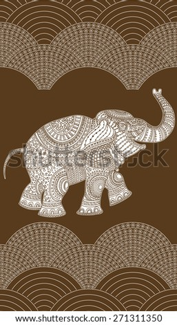 Vector seamless decorative pattern on dark brown background from white flowers, rope of pearls, and elephant with ethnic ornaments. - stock vector