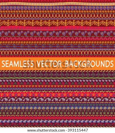 Vector seamless ethnic background. Draw by hand bright tribal pattern for web pages, wallpapers and other background processing, in the Indian and African style.