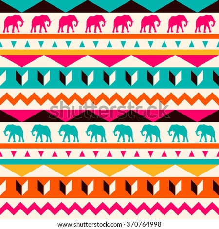 Vector seamless ethnic pattern. Abstract background. Geometric borders. Traditional colorful ornament with elephants.  - stock vector